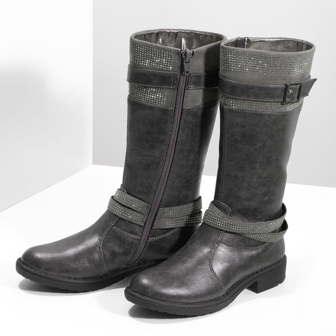 Dievčenské čižmy s kamienkami mini-b, šedá, 391-2655 - 16