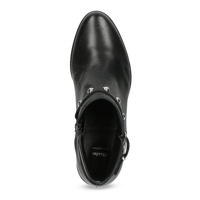 Kožená členková obuv s kovovými cvočkami bata, čierna, 594-6668 - 17