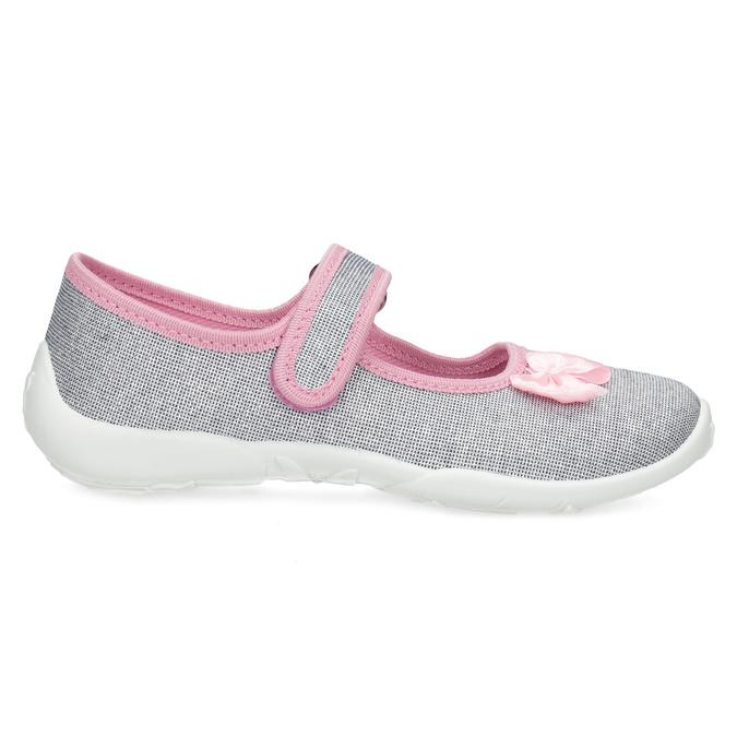 Detská domáca obuv s mašličkou mini-b, strieborná, 379-1314 - 19