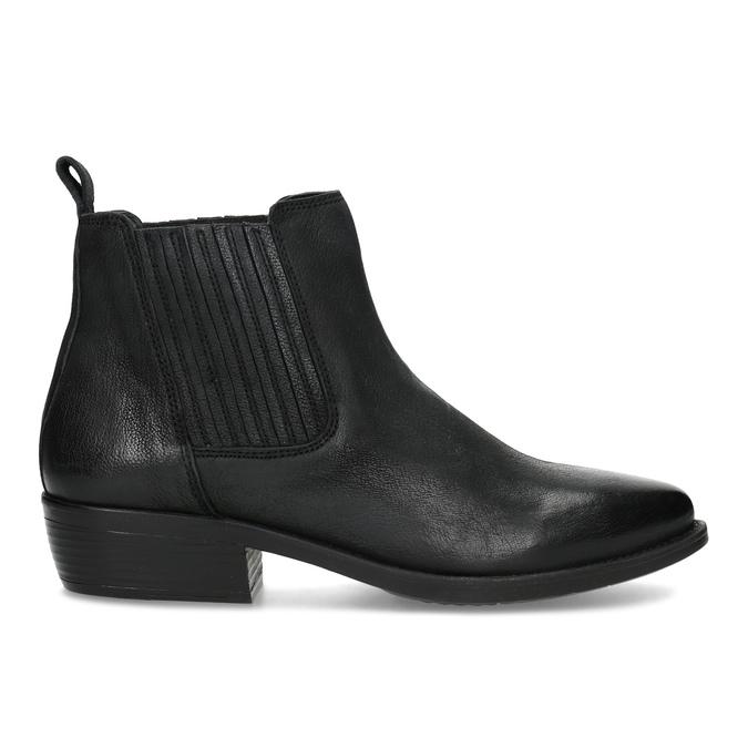 Dámska kožená členková obuv s pružením bata, čierna, 596-6969 - 19