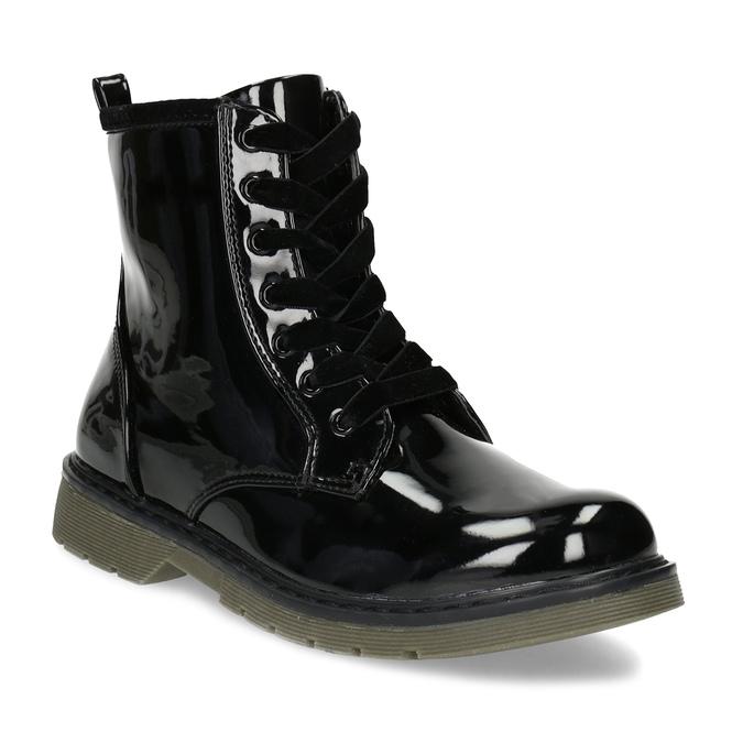 Dievčenská čierna lesklá členková obuv mini-b, čierna, 391-6259 - 13