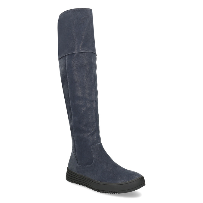 Modré dámske čižmy s prešitím bata, modrá, 691-9636 - 13