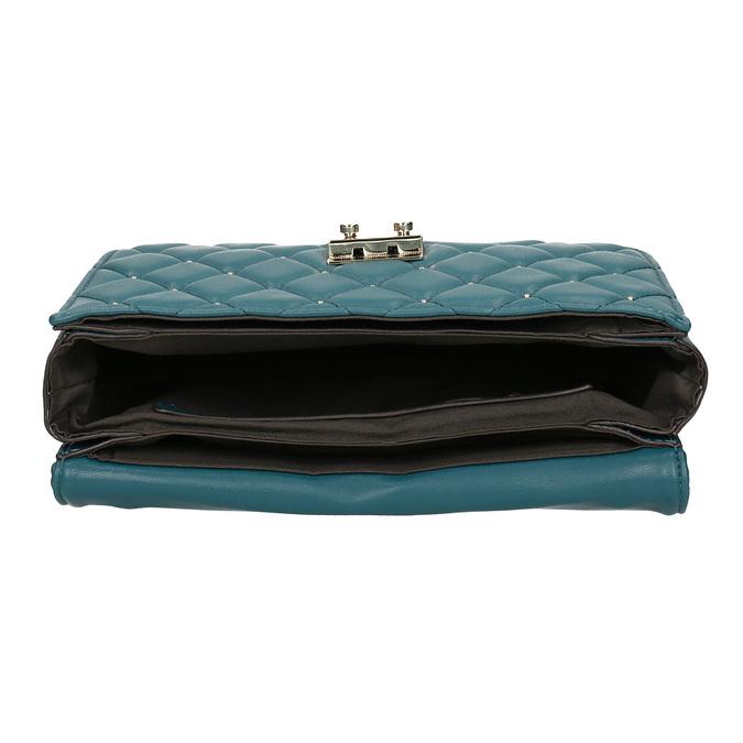 Prešívaná tyrkysová listová kabelka so zlatou retiazkou bata, modrá, 961-9909 - 15