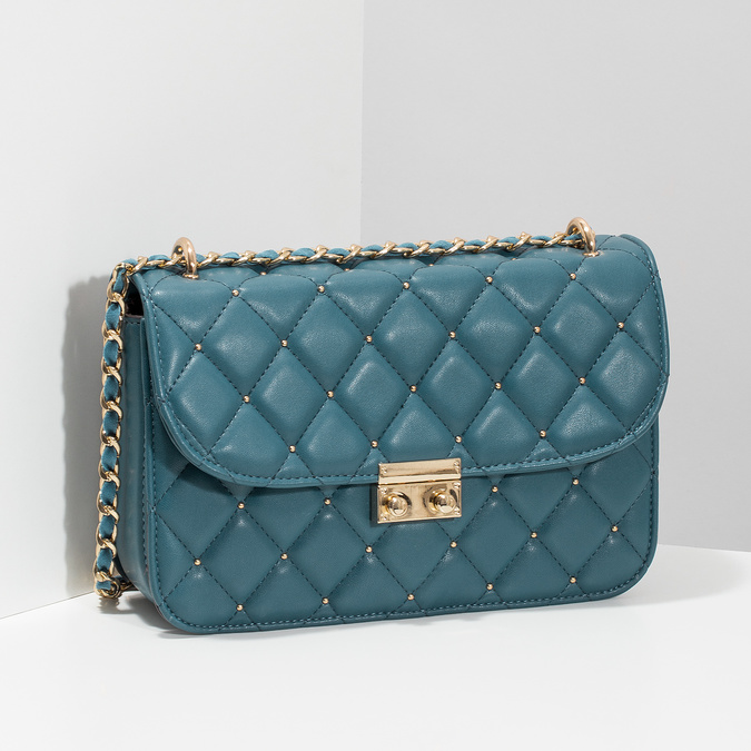 Prešívaná tyrkysová listová kabelka so zlatou retiazkou bata, modrá, 961-9909 - 17