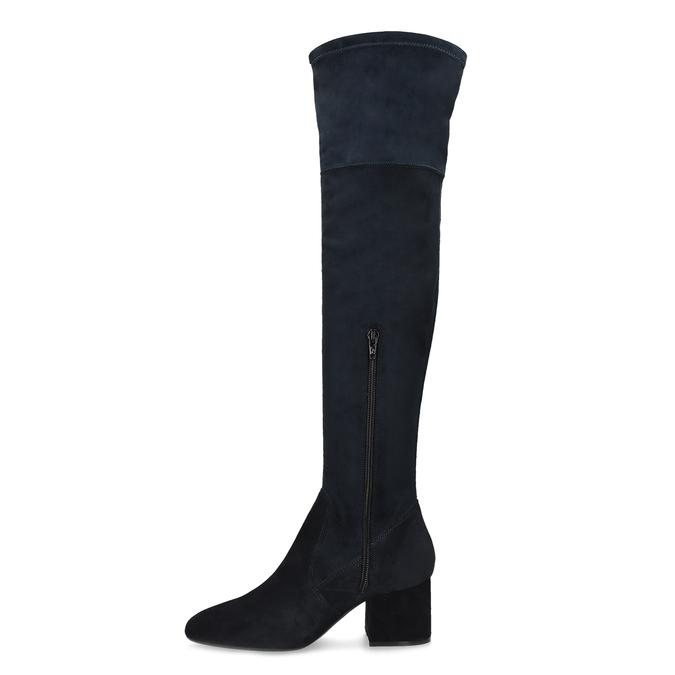 Modré dámske čižmy nad kolená bata, modrá, 793-9614 - 17