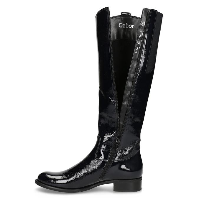 Lakované dámske čierne čižmy gabor, čierna, 698-9015 - 17