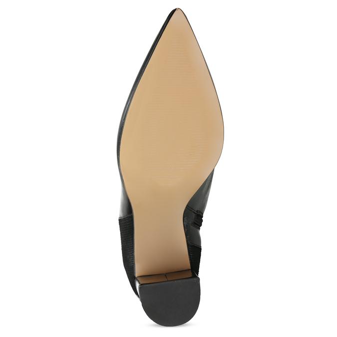 Kožené dámske čižmy s úpletom bata, čierna, 796-6663 - 18
