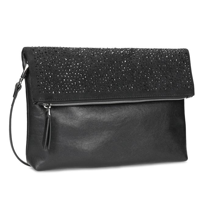 Čierna listová kabelka s klopou a kamienkami bata, čierna, 961-6910 - 13