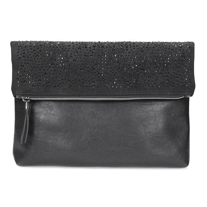 Čierna listová kabelka s klopou a kamienkami bata, čierna, 961-6910 - 26