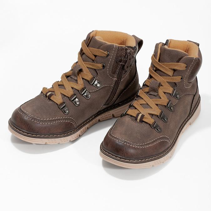 Hnedá detská členková obuv na zips mini-b, hnedá, 311-4614 - 16