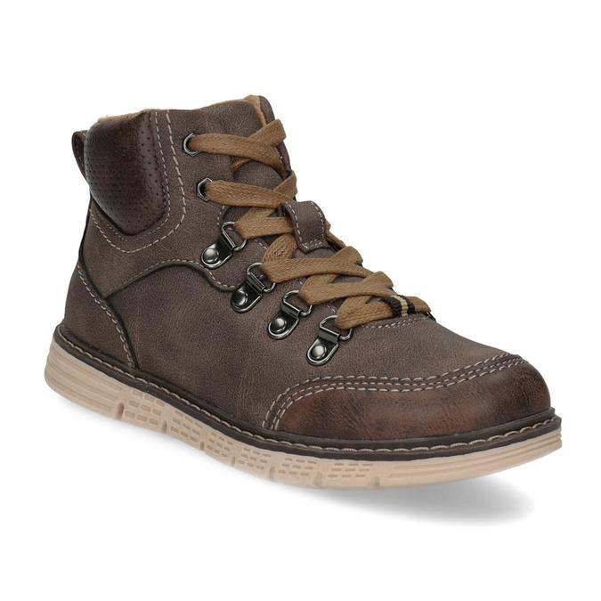 Hnedá detská členková obuv na zips mini-b, hnedá, 311-4614 - 13