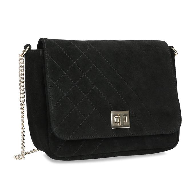 Kožená čierna crossbody kabelka s prešitím bata, čierna, 963-6603 - 13