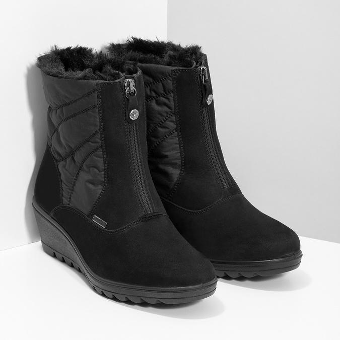 Čierne dámske členkové čižmy so zateplením comfit, čierna, 699-6645 - 26