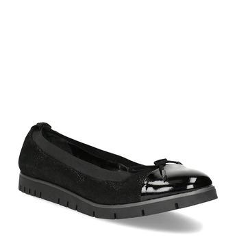 Dámske kožené čierne baleríny flexible, čierna, 526-6663 - 13