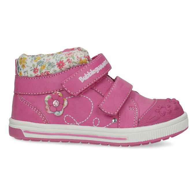 Ružové detské členkové tenisky s kvetinami bubblegummers, 121-5618 - 19