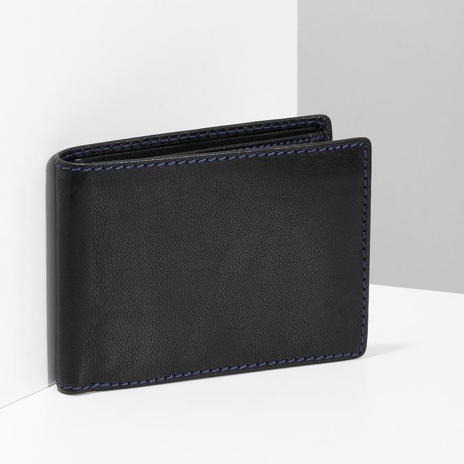 Kožená peňaženka s modrým prešitím bata, čierna, 944-6218 - 17