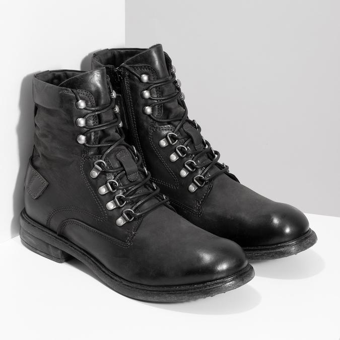 Čierna pánska kožená členková obuv bata, čierna, 896-6743 - 26