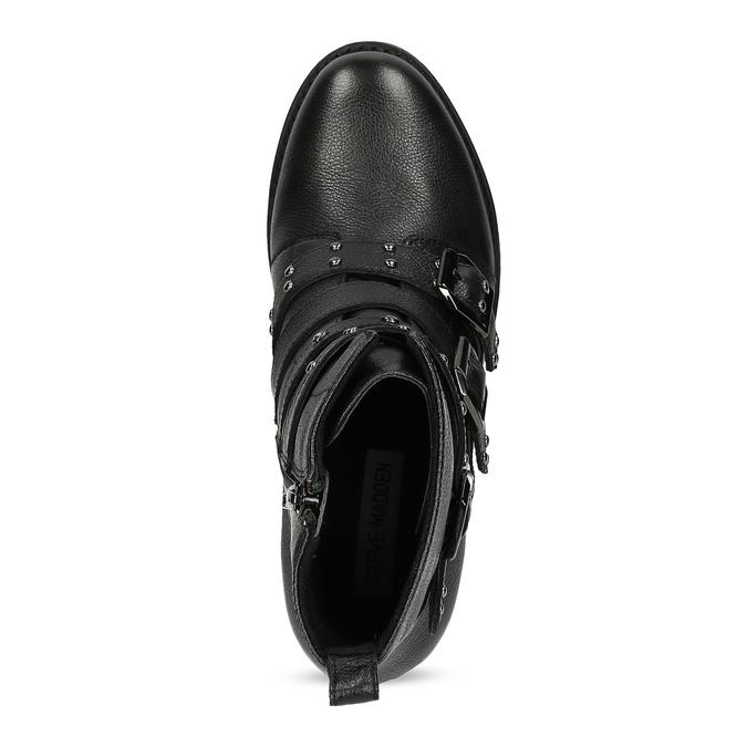 Čierne kožené čižmy s kovovými cvočkami steve-madden, čierna, 514-6025 - 17