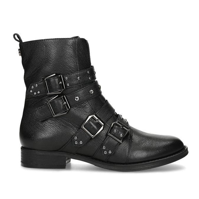 Čierne kožené čižmy s kovovými cvočkami steve-madden, čierna, 514-6025 - 19