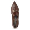 Hnedé kožené lodičky s kovovou prackou rockport, hnedá, 716-3085 - 17