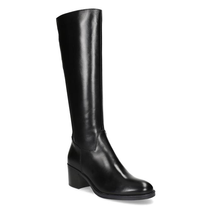 Kožené čierne čižmy na stabilnom podpätku bata, čierna, 694-6668 - 13