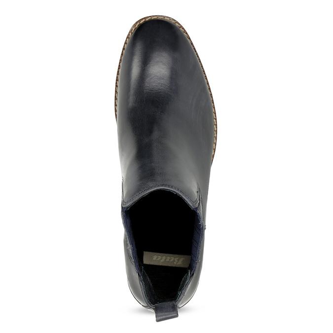 Modrá kožená dámska obuv v Chelsea štýle bata, modrá, 594-9682 - 17