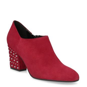 Kožené červené členkové čižmy s cvočkami bata, červená, 723-5661 - 13