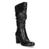 Kožené dámske čižmy s riasením bata, čierna, 794-6664 - 13