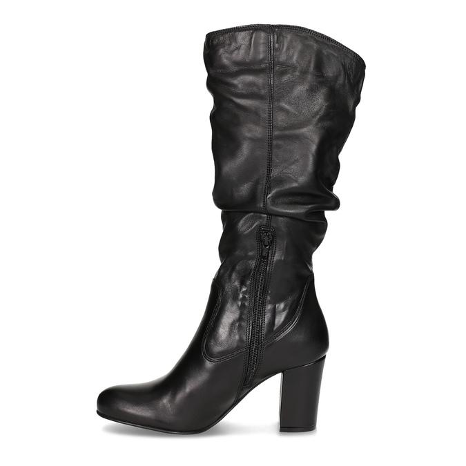 Kožené dámske čižmy s riasením bata, čierna, 794-6664 - 17