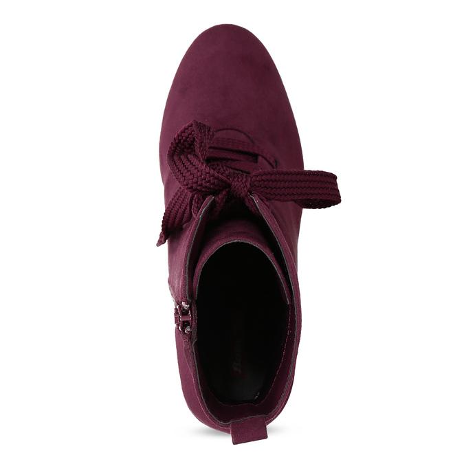 Vínové dámske čižmy so šnurovaním bata-red-label, červená, 799-5633 - 17