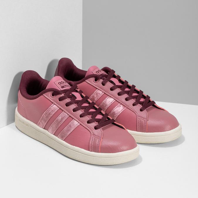 Ružové dámske ležérne tenisky adidas, červená, 501-5101 - 26