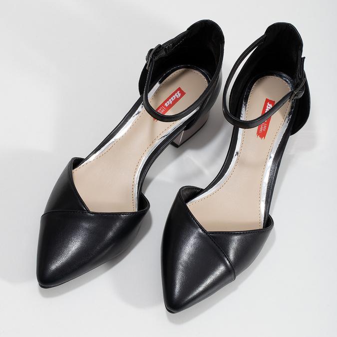 64055a4e1f60d Čierne lodičky so strieborným podpätkom bata-red-label, čierna, 621-6647