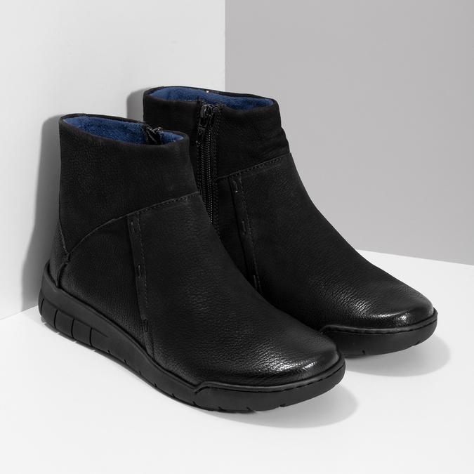 Kožená dámska členková obuv bata, čierna, 596-6706 - 26