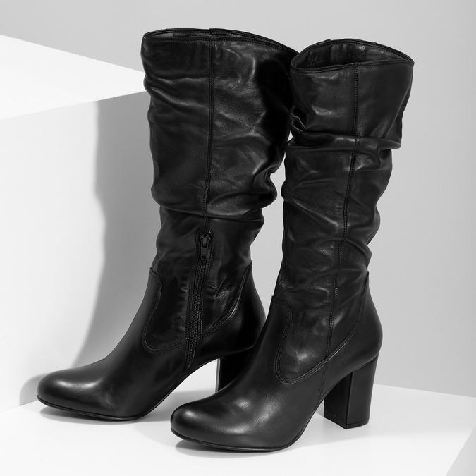 Kožené dámske čižmy s riasením bata, čierna, 794-6664 - 16
