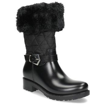 Dámske čierne snehule s kožúškom bata, čierna, 592-6602 - 13