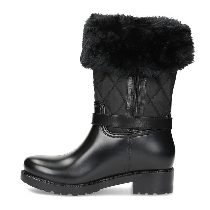 Dámske čierne snehule s kožúškom bata, čierna, 592-6602 - 17