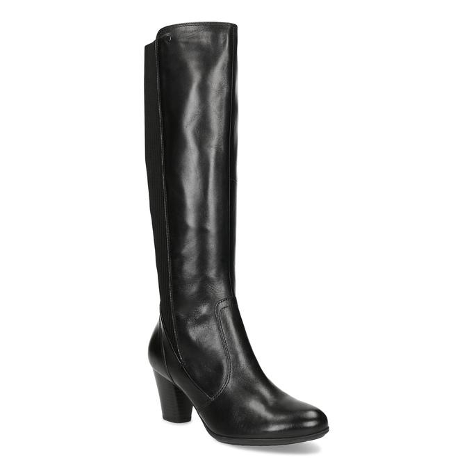 Kožené čierne dámske čižmy s úpletom, čierna, 696-6657 - 13