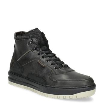 Čierna pánska kožená členková obuv bata, čierna, 896-6712 - 13