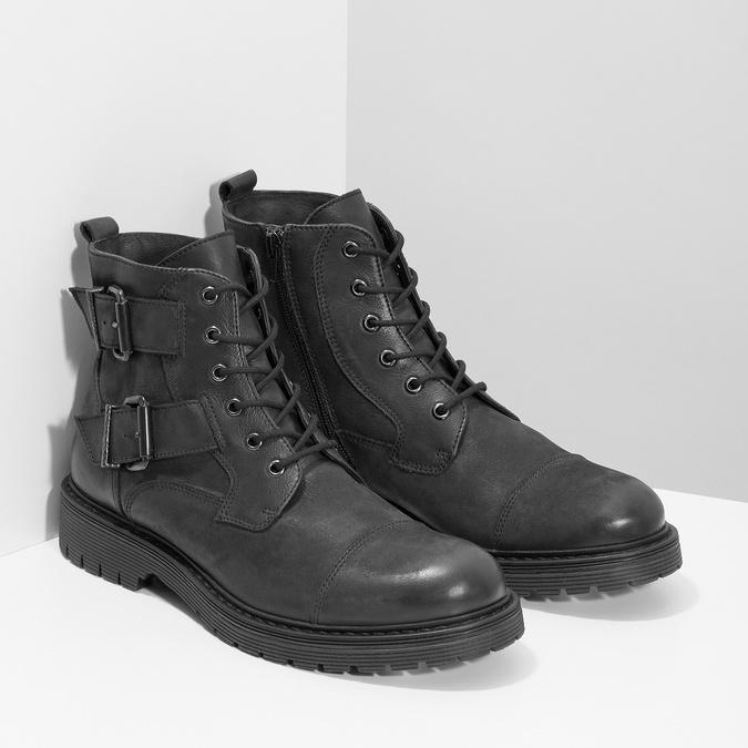 Kožená pánska členková obuv s prackami bata, čierna, 896-6715 - 26