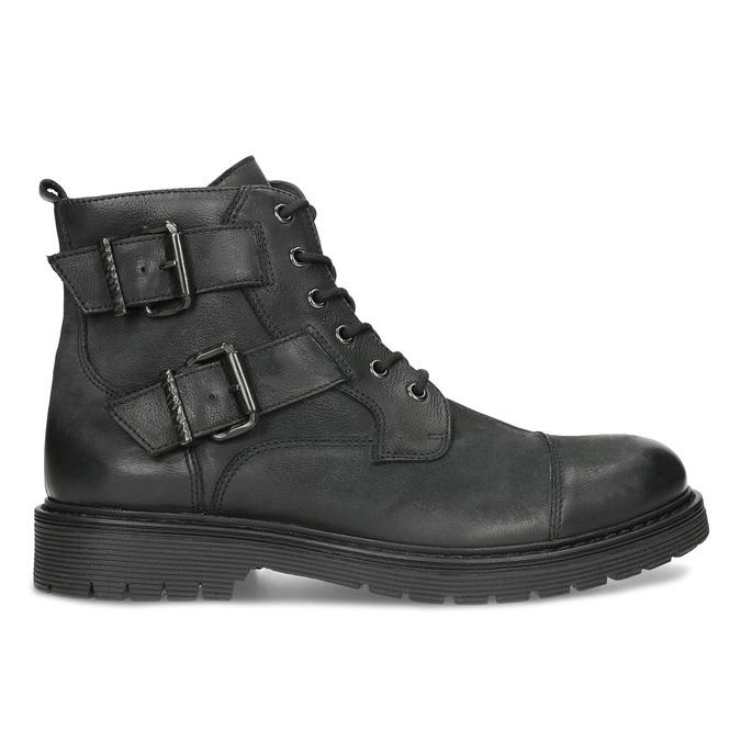 Kožená pánska členková obuv s prackami bata, čierna, 896-6715 - 19