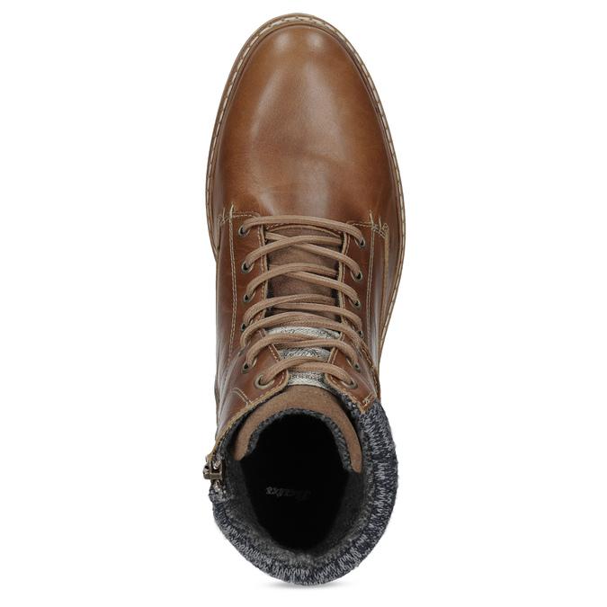 Kožená hnedá pánska členková obuv bata, hnedá, 896-3713 - 17