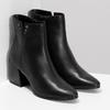 Čierna členková kožená obuv na podpätku bata, čierna, 794-6658 - 26