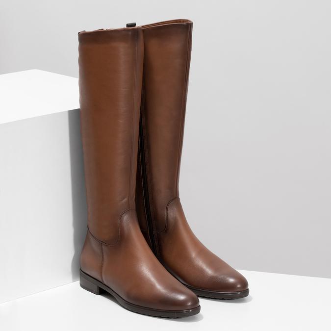 Kožené hnedé dámske čižmy bata, hnedá, 594-4675 - 26