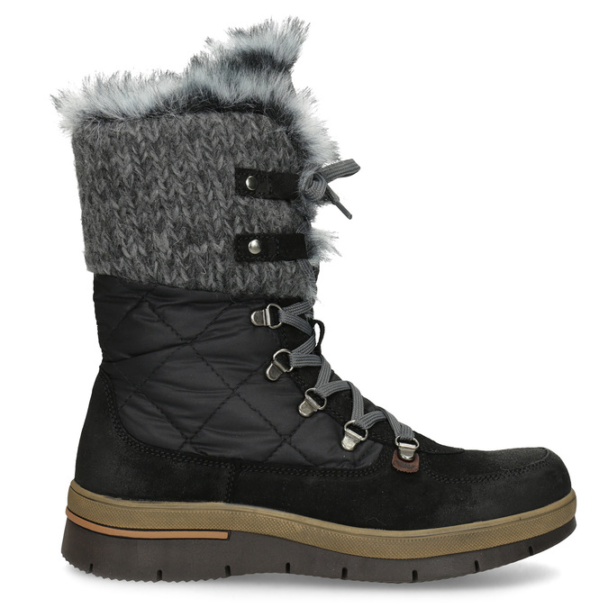 Dámska čierna zimná obuv s kožúškom weinbrenner, čierna, 596-6755 - 19