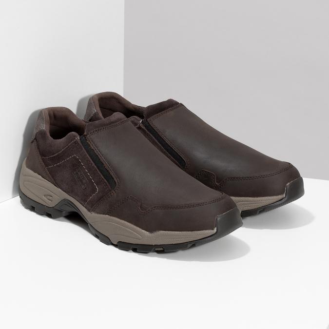 Pánska hnedá kožená obuv s pružením camel-active, hnedá, 826-4091 - 26