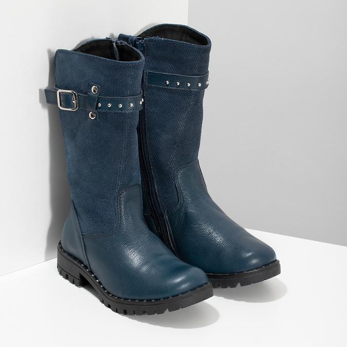 Dievčenské kožené modré zimné čižmy mini-b, modrá, 394-9200 - 26