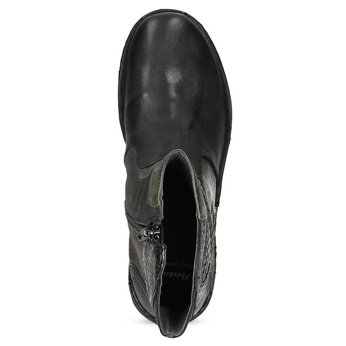 Kožená členková obuv s cvočkami bata, čierna, 596-6742 - 17