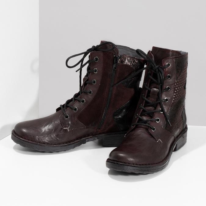 Vínová kožená dámska členková obuv bata, červená, 596-5741 - 16