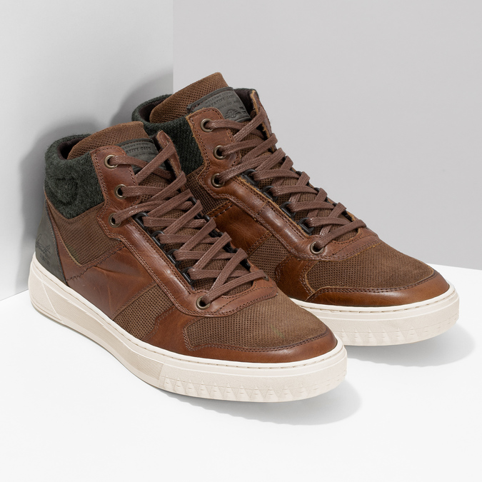 Hnedé členkové kožené tenisky bata, hnedá, 846-3722 - 26