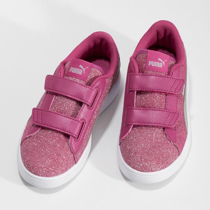 Ružové detské tenisky na suchý zips puma, ružová, 301-5224 - 16